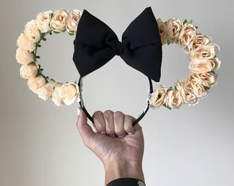 Flower Mickey Mouse Ears, Flower Mickey Ears, Wire Mickey Ears, Floral Mickey Ears, Mickey Mouse Ears, Custom Mickey Mouse Ears