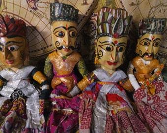 Lot of Four Large Handmade Indian Kathputli Puppets