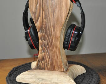 Reclaimed Wood Headphone Stand #5, Wooden Headphone Holder, Drift Wood Headphone Stand, Rustic Headphone Stand  by www.art-tarkowski.com