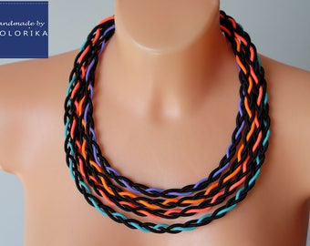 Bold neon necklace, Black bib necklace, Tribal necklace, Colourful necklace, Braided necklace, Rainbow necklace, Fabric necklace Colorika