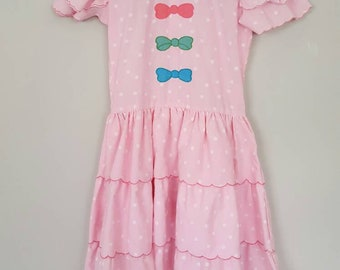 Vintage Pink Polka Dot and Bow Ruffle Tiered Girls Party Dress