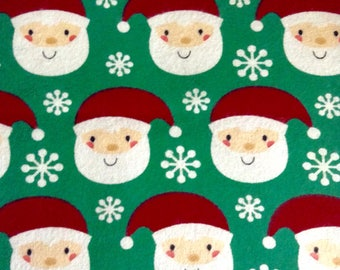 One Half Yard of Fabric -  Santa on FLANNEL, Christmas Fabric