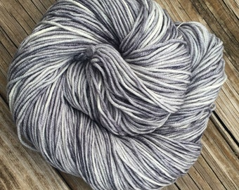 Hand Dyed DK Yarn Pieces of Eight Silver Gray Grey Hand Painted yarn 274 yards handdyed dk sport weight Superwash Merino Wool swm moonlight