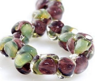 10 Maroon and Green Double Sided Handmade Lampwork Beads (21283)