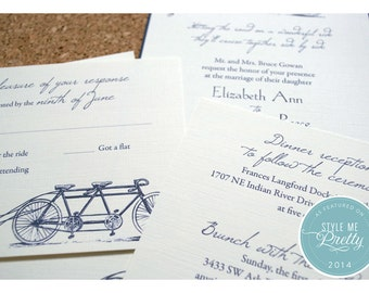 Tandem Bike Wedding Invitations - Bike Built for Two Wedding Invite - Whimsical Wedding Invitation