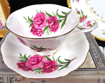 ROYAL ALBERT tea cup and saucer pink carnation pattern avon shape teacup