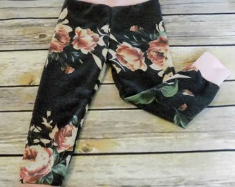 Ready to Ship - Baby Leggings - Size 12 mos - Girls Floral Leggings - Toddler Leggings - French Terry Leggings - Kids Leggings