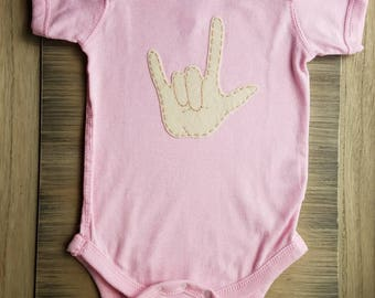 I love you baby, ILY baby one piece, ASL newborn one piece, Hearing Impaired family
