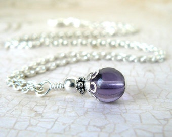 Lavender Bridesmaid Necklace, Lilac Glass Bead Pendant, Pale Purple Bridesmaid Jewelry, Vintage Style Wedding Necklace, Bridal Party Gift