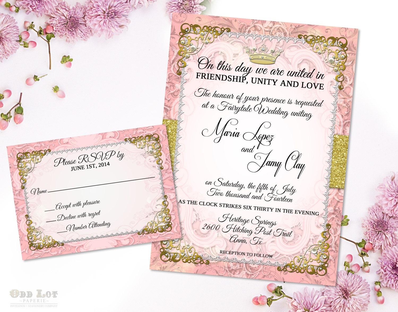 Romantic fairytale wedding invitation suite royal princess zoom monicamarmolfo Gallery