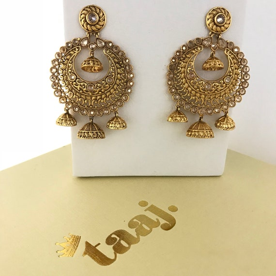 Pinar Gold zirconia triple jhumka earrings, indian bridal Pakistani party jewellery