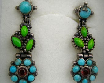 Antique Silver earrings with turquoise and ruby
