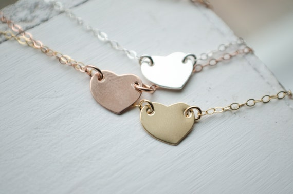 Delicate Stamped Heart Necklace | Gold Filled Sterling Silver Rose Gold Necklace | Tiny Heart Initial Charm | Dainty Heart Jewelry