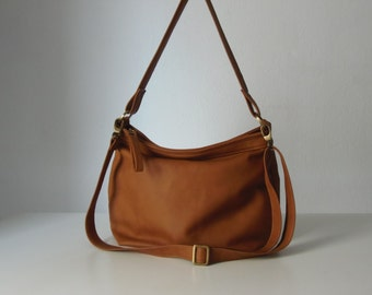 Tan leather hobo bag - Leather hobo purse - Soft leather  bag - Slouchy bag - MEDIUM HELEN bag