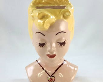 deLee Pottery BOBBY PINUP Blond Bobby Pin Holder California Pottery 1940s