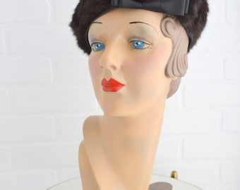 1950s Fur and Satin Hat