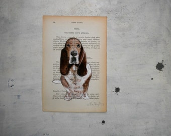 dog portrait original painting bassethound in watercolor and tempera painting on page of old book