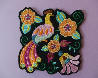 Applique badge patch fusible embroidery Peacock and flowers