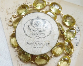 Yellow statement necklace, Anna Wintour necklace, collet, georgian paste, citrine necklace, regency jewelry, edwardian necklace