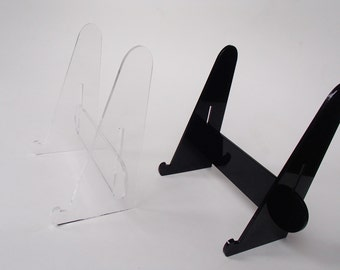 Easel-Acrylic Holder for Signs- Stand for Pictures-Black or Clear- Laser cut- Assemble at home