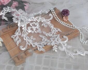 5pcs 45x27cm wide ivory sequin bridal wedding dress lace appliques L30K100 free ship