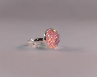 Small Light Pink Adjustable Druzy Ring 12mm Antique Gold or Silver Color Small Pink Druzy Ring Pink Druzy Ring