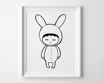 Wall art print, nursery art, kids room decor, Shy bunny print, nursery wall art, affiche scandinave, Mini Learners, nursery decor kids print