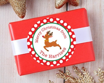 Christmas Stickers - Personalized Gift Labels - Rudolph the Red-Nosed Reindeer - Sheet of 12 or 24