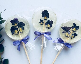 Set of 3 Wedding Guest Favor Edible Small Violas Lollipop Wedding Gift Purple Sweets Be my bridesmaid gift