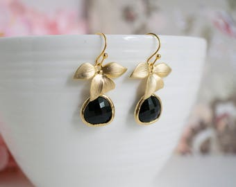 Gold orchid flowers and Jet black drop teardrop glass earrings Bridesmaid Gift For Her Jewelry. Christmas Stocking Stuffer