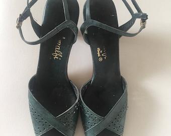 Vintage slingback sandels / vintage Amalfi heels / vintage teal heels / vintage teal slingback / vintage shoes