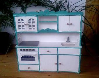 Dollhouse furniture. Kitchen set for Barbie. Barbie furniture. Dolls furniture handmade. Wooden barbie furniture. Miniatures doll furniture