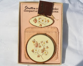 Pretty Vintage Stratton Compact Mirror and Lipstick Holder Unused Boxed Condition