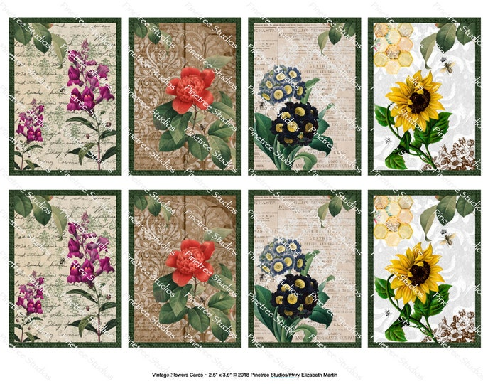"""Vintage Flowers Card (2.5""""x 3.5"""") ~ Digital Download ~ Printable / Label / Gift Tag / Bookplates / ATC Cards"""