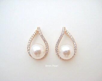 Rose Gold Stud Earrings Bridal Pearl Earrings Swarovski 8mm Pearl Cubic Zirconia Teardrop Earrings Wedding Jewelry Bridesmaids Gift (E105)