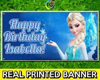 Elsa Frozen Printed Happy Birthday Vinyl Banner Personalized Custom Name