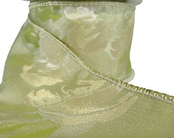 """Celery Green & Chartreuse Rose Damask Wired Ribbon  2.5"""" Wide"""
