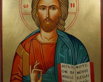 Jesus Christ Pantocrator Ruller of All Hand-Painted Byzantine Orthodox Icon on Wood 40 x 30cm