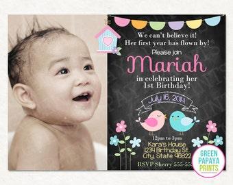 Bird Birthday Invitation, Spring, Printable Invitation, Birthday Party, Birdie, Pastel, Flowers, Pastel, Digital File