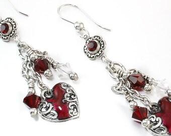 Birthstone Jewelry, Ruby Earrings, July Birthstone Jewelry, Crystal Drop Earrings, Heart Jewelry, Dangle Earrings