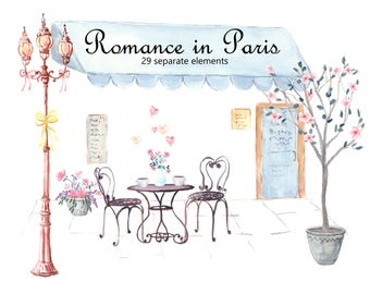 Romance in Paris Watercolor Clip Art, Eiffel Tower, Cafe Bistro, Champagne, French Lamp Post, French Themed Shower or Wedding
