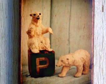 Vintage Toy  P is for polar bear Art/Photo - Wall Art 4x6