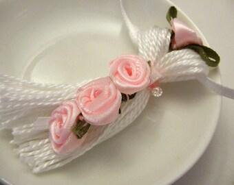 Pink Ribbon Roses on White Beaded Tassel Spring Easter Wedding Bling Ornament Gift Decoration Favor