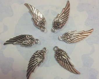 Ornate Rose Angel Silver Wings, delicate, feather effect wings