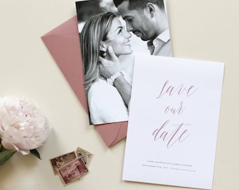 Save Our Date Save the Date, Dusty Rose Wedding Save the Date, Mauve Modern Save the Date, Save-the-Date Card Photo, Simple Wedding Photo