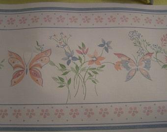 Wallpaper Border 20 Ft. Vintage  Pink Butterflies Flowers Country Cottage Nursery