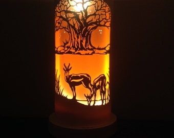 African Baobab and Springbok African Table Lamp