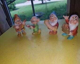 "Vintage Walt Disney Productions Sri Lanka ""Snow White and The Seven Dwarfs"" SET OF FOUR Dwarf Figurines"