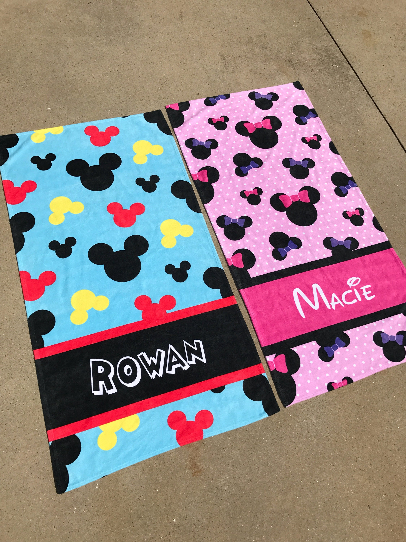 Mickey Minnie Themed Beach Towel