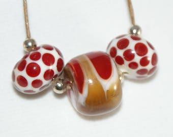 Handmade Lampwork Bead Set of 3, Red, White, Caramel Amber Swirls & Dots
